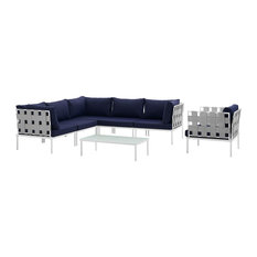 Harmony 7-Piece Outdoor Patio Aluminum Sectional Sofa Set