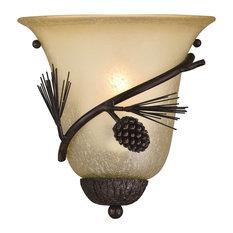 Sierra 1 Light Bronze Rustic Pinecone Half Moon Wall Sconce Cream Glass