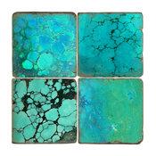 Tumbled Marble Coasters, Set of 4, Turquoise