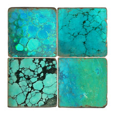 Tumbled Marble Coasters, Set of 4, Turquoise