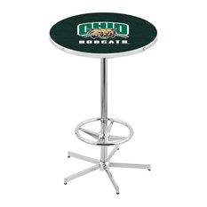 L216 - 42-inch Chrome Ohio University Pub Table By Holland Bar Stool Co.