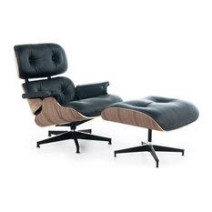 Leather Lounge Chair and Ottoman 2-Piece Set, Black, Aniline, Walnut