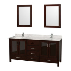 "72"" Double Bathroom Vanity in Espresso With Top, Undermount Sinks, Mirror"