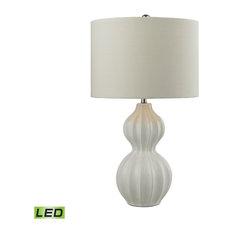 "26"" Ribbed Gourd LED Table Lamp, Gloss White"