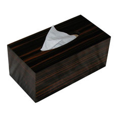 Black Rattan PU Leather Tissue Box Magnet Cover Square Paper Holder Saloon Study