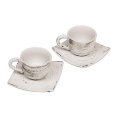 Rustic Table Ceramic Cups and Saucers, 4-Piece Set