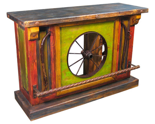painted wood wagon wheel bar furniture image rustic mexican