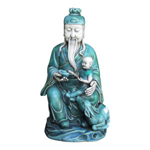 Unique Chinese Green Porcelain Sitting Old Man w/Kid Statue