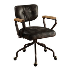 industrial office chair. Acme Furniture - Hallie Top-Grain Leather Office Chair, Vintage Black Chairs Industrial Chair N