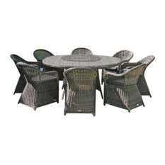 Mayfair 11-Piece Round Garden Dining Table Set, 8 Dining Armchairs