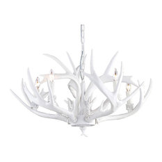 White Polyresin Antler Lighting Fixture