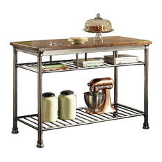 Home Styles The Orleans Metal Kitchen Island with Wood Top in Brown
