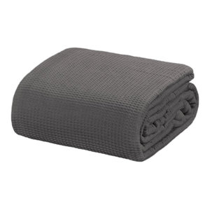 Crover Collection All Season Thermal Waffle Cotton Blanket, Dark Gray, King