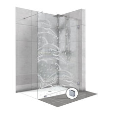 Frameless Fixed Shower Glass Panel with Frosted Shark Design, Non-Private, 33 1/