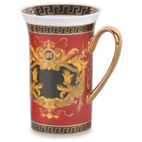 Royalty Porcelain  Red Coffee Or Tea Cup Mug, Luxury Greek Key, 12 oz.