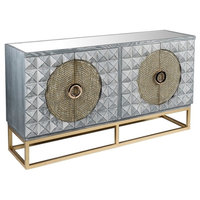 Zelda Gray Studded Sideboard With Gold Legs