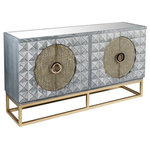 Statements by J - Zelda Gray Studded Sideboard With Gold Legs - Be ready to wow your guests with this unique design. This gray wood sideboard has gold studded doors and rose gold metal legs. Inside there is one shelve and plenty of space for storage.