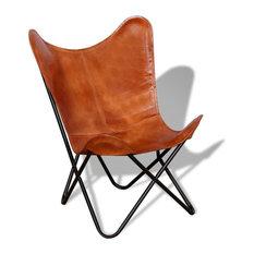 vidaXL Butterfly Chair Vintage Real Leather Brown Hide Sleeper Seat Lounge