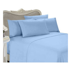 600 Thread Count Egyptian Cotton Solid Bed Sheet Set, California King, Blue