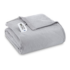 Micro Flannel Electric Heated Comforter, Greystone, Queen
