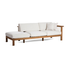 OASIQ MARO Chaise Lounge With Decorative Pillows, Canvas Natural, Right Arm