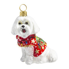 Maltese W/Ugly Christmas Sweater Ornament