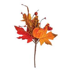 """Velvet Pumpkin Pick With Leaves, 12"""""""
