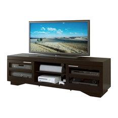 CorLiving Granville Mocha Black Wood Veneer TV Stand  - For TVs Up To 80-inch