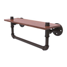 "Pipeline Collection 16"" Ironwood Shelf With Towel Bar, Oil Rubbed Bronze"