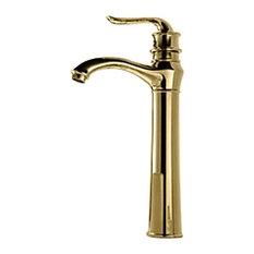 Juno Showers Single Handle Vessel Faucet Antique Gold Bathroom Sink Faucets