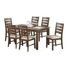 Salileo 7 Piece Casual Dining Set, Weathered Light Oak