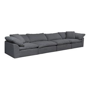 4-Pc Slipcovered Modular Sectional Sofa Performance Fabric Gray