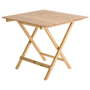 Zeus Medium Folding Garden Bistro Table, Natural Ash