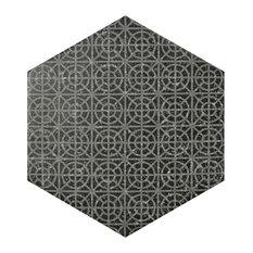 "10""x11.5"" Moonstone Hexagon Porcelain Floor/Wall Tile, Set of 18, Black"