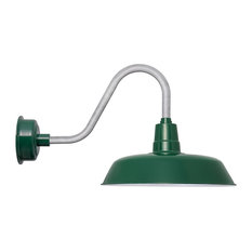 """Oldage LED Barn Light With Rustic Stem, Vintage Green and Galvanized, 18"""""""
