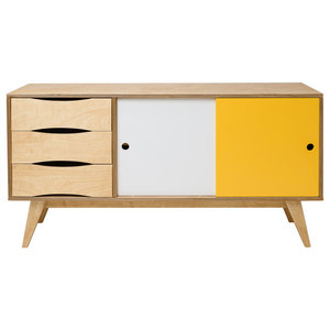 SoSixties Sideboard, Oak, White and Yellow, Large