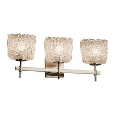 Veneto Luce Union 3-Light Bath Bar, Oval, Brushed Nickel, Lace Shade