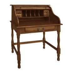 "Chelsea Home - 32"" Lonie Mini Roll Top Desk, Burnished Walnut - Desks ..."