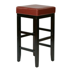 """30"""" Square Stool Faux Leather With Espresso Legs, Red"""