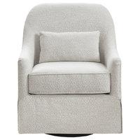 Madison Park Swivel Glider Chair, Ivory/Black