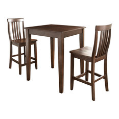 3Pc Pub Dining Set W/School House Stools- Pub Table, 2 Bar Stools