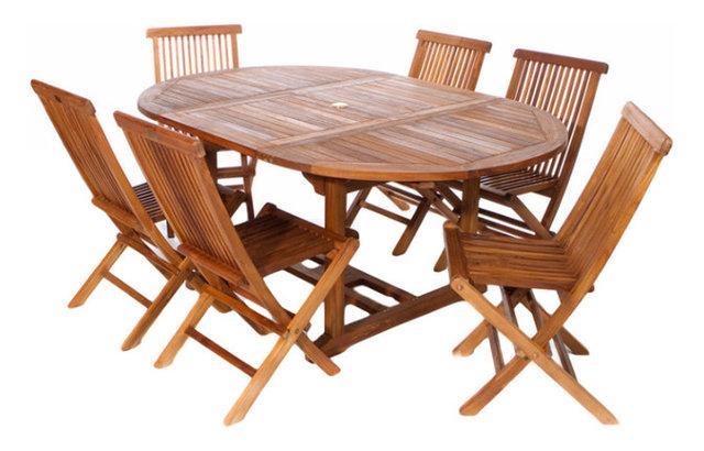 7-Piece Set Teak Oval Extension Table Folding Chair Set ...