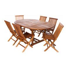 7-Piece Set Teak Oval Extension Table Folding Chair Set