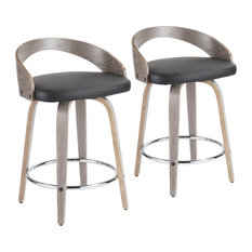 Grotto Counter Stools With Swivels, Set of 2, Light Gray Wood, Black, Pu, Chrome