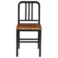 Sutherland Heavy Duty Dining Chair With Pine Wood Seat, Black , Set of 2