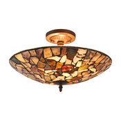"Chloe Lighting Sandy Mosaic 2 Light Semi-Flush Ceiling Fixture 16"" Shade"