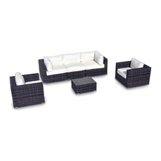 Outdoor Patio Sofa Sectional Wicker Furniture 6-Piece Resin Couch Set