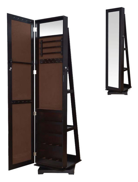 Tall Espresso Brown Jewelry Armoire Wardrobe Floor Dressing Mirror