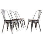 BELLEZE - Wood Seat Metal Bar Stool Chairs, Set of 4, Gunmetal - These Metal Bistro style modern metal chairs are perfect for your kitchen, restaurant, bistro, coffee house, or anywhere else.