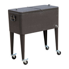 80 QT Rolling Ice Chest Portable Patio Cooler Cart, Brown Wicker Pattern